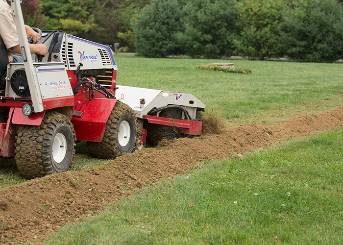 trenching line using ventrac system